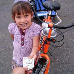 Chey gives me 4 bucks for a motorized bike and a trailer!