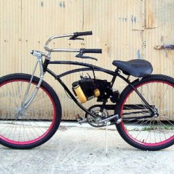 Standard Murray (about 95 I think) cruiser, extended the handlebars (welded insert and extension), fabricated the seat extension, painted the rims , i