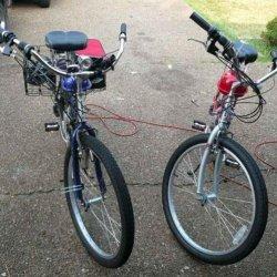 Blue and Red Bikes Schwinn Jaguar and Schwinn Red