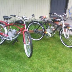 The first two motorized bikes. The red is a 2008 Schwinn from Kmart its was the most reliable one we ever had someone bought it off of me in South Dak