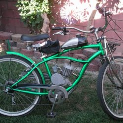 The Green Hornet. This is my fast bike Yamaha carb, ported and engine turned covers.