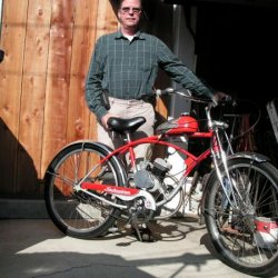 Me and the Schwinn. This is my glamor bike coaster brake is not a good idea. Runs good Yamaha carb and ported.