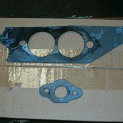 made exhaust gasket out of old header gasket, my kit came with nothing and didnt know you can buy em now lol...