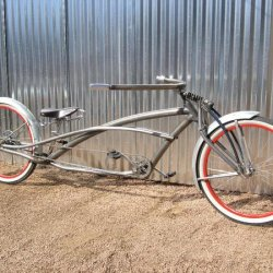 Long fendered bike.