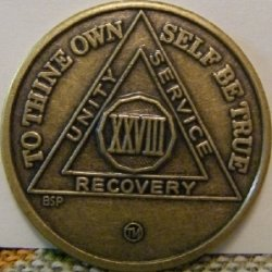 My 28-year clean and sober chip, from Celebrate Recovery.