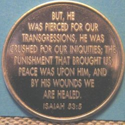 Back side of my 27-year recovery chip from God's Way Out, with the scripture from Isaiah 53:5