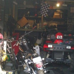 The Garage with the 1996 Harley Davidson FXDL and the 2005 Polaris Sportsman 500 H.O.