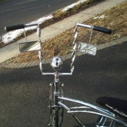 Custom Twisted Crome Handle Bars on the Lovely Lowrider Krate. For Sale.
