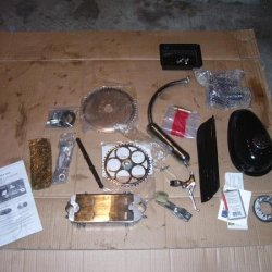 All the installation parts which came with the engine kit