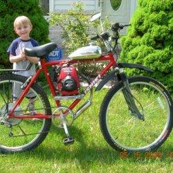 GXH 50cc with Grubee drivetrain with my son Jeremy (Big Helper!!)