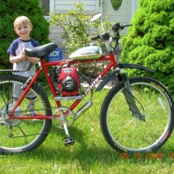 GXH 50cc with Grubee drivetrain with my son Jeremy (Big Helper!!)