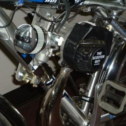 47cc cag motor 15mm carb v stack and p chrome air filter with tuned pipe