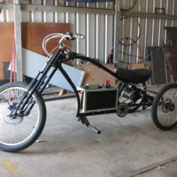 First pics of trike in workshop after battery box was completed and fitted to bike