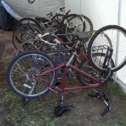my colection of junkyard bikes, if you look closely you will see the second bike is my comfort peddler.