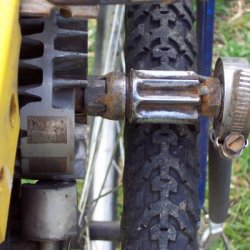 First Motored Bike friction drive was created from a starter drive from a old Nissan. Will not go on any moisture It worked better on the knobby mtn b