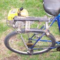 First Motored Bike using a re-purposed McCullough I385L Weed whacker.
