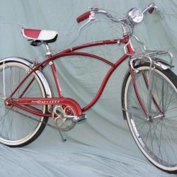 "My Red '57 Schwinn Corvette I bought with my lunch money. Bought new at a B.F. Goodrich store in 1958 (on ""time""). During restoration 40 years later I"