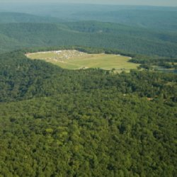 Mulberry Mountain Ariel view nestled in the Ozarks.
