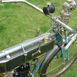 Top view showing the carbide lamp and Klaxton style horn. The handlebars will have wooden oak grips.
