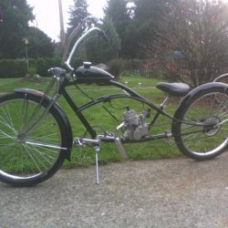 dyno custom 2 66cc springer fork front with ape hanger bars