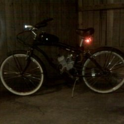 My bike with lights on.