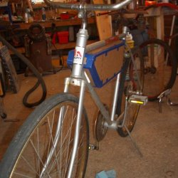 This was the beginning of the Huffy makeover.  I added bars from an old Shelby along with the seat.