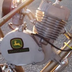 my engine on the clutch side, John Deere logo... i was origonally going to put it on a JD bike i custom painted but it did not fit... sadly... but thi