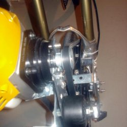 Nice close up view of front drivetrain with fork brace clearance & pulley clearance