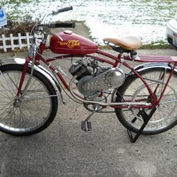 Columbia Whizzer project. Still needs all the required parts to make it a legal motorcycle in Ohio.
