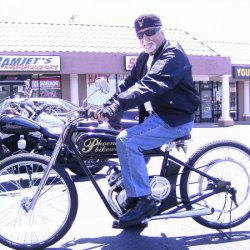 Oldest Rider, To Ride the Helmutt Designed Bike,and Here with the Pumped Guenther Built Motor.  I was thrilled when This Old Harley Guy was alive, and