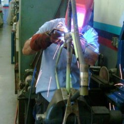 My buddy Sergio welding the frame...