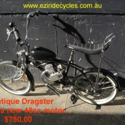 Antique Dragster with a Grubee 48cc motor kit by EziRide Cycles Australia.