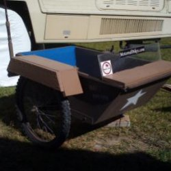 "This is a pic of the fender I just built. I used some composite 1""x6""x3/4"". Then painted it to match the sidecar"