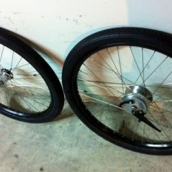 My new heavy-duty wheels (with a dyno and a front brake!)...and check out my retro Quick Brick tires!