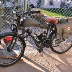 Combat Motorbike with Swedish military surplus bicycle saddle bags