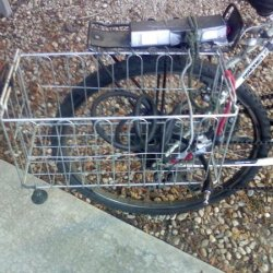 My 3-4 gallon wire basket (and inherent 7 feet of bailing wire), and bike lock.