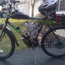 this was my first build Huffy 26' mountian bike with 66cc motor on it it would do about 35mph