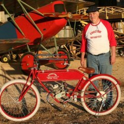 CHOCTAW in it's element in front of a Fokker DVII of WWI, a mobile zepplin ladder, and the fuselage of a Bleriot 1909. I may use this bike to showcase