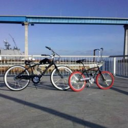 Little pier where I cruise every now and then, My cruiser along side my Bros  lowrider stingray.