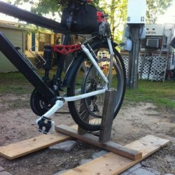 DIY bike / wheel truing stand. Perfect for fine tuning a running motorized bike or truing up a re-spoked wheel