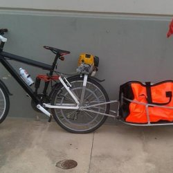 Genesis Gebe with EH035 setup up with single wheeled bike trailer ready for long range riding.