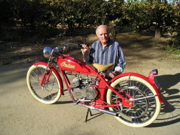 A Happy Joe Peirson With His Helmutt Whizzer powered Motor Bicycle...