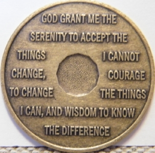 Back side of my 28-year chip, with the Serenity Prayer.