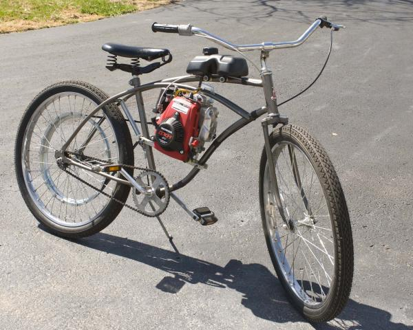DSC2690.  Right side view, completed bike, shows whizzer throttle, engine side