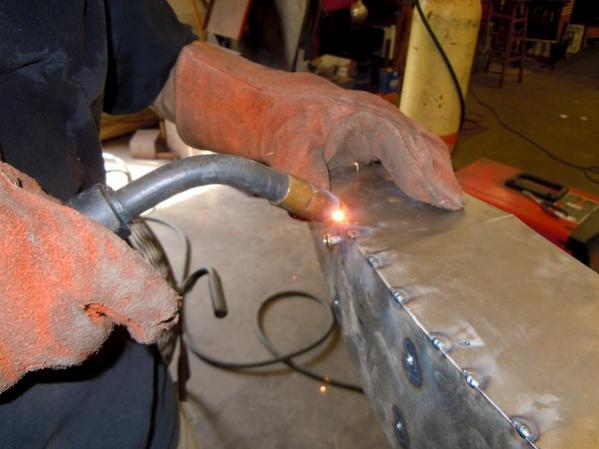 Here I'm welding my tank together...
