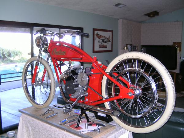 Joe Piersons Whizzer Powered Build.. With Indian Logo..