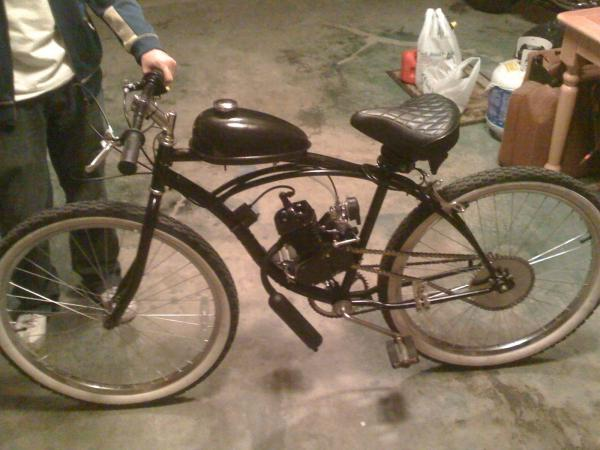 My Huffy Cranbrook Cruiser with Mt. Bike Handle bars and  80cc 2-stroke Black Stallion.