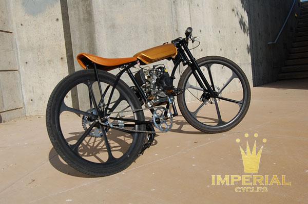 High Quality Black Powdercoated Shorty Fatz/ Imperial Frame, Custom Orange Marine Vinyl  Seat, Custom Boardtracker Gas Tank Orange/ Gold C | Motored Bikes |  Motorized ...