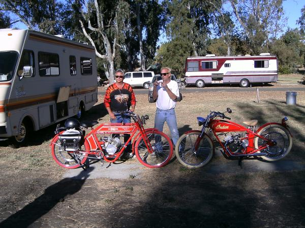 My Pardner Tim Carns, and I with the Xcelsior Helmutt Bikes