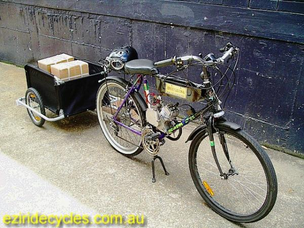 """Old Faithful"" with trailer.This is how we get the Grubee motor kits to the post office.